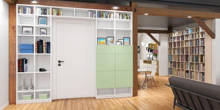 Geschlossene Bücherregale regale über tür offene und geschlossene fächer