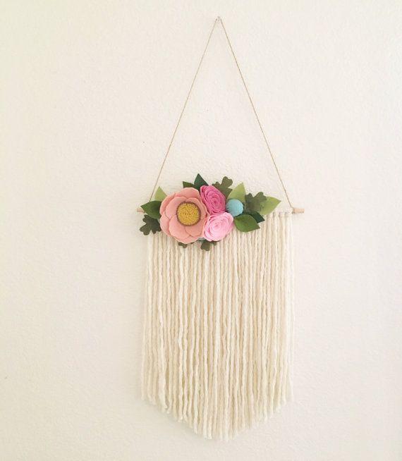 Floral Wall Hanging Felt Flower Wall Hanging Boho Yarn