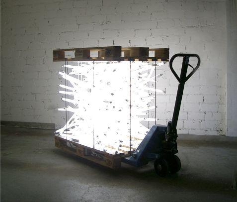 Polychroniadis Fluorescent Lights Installation By Molitor Kuzmin Crates Pump Truck