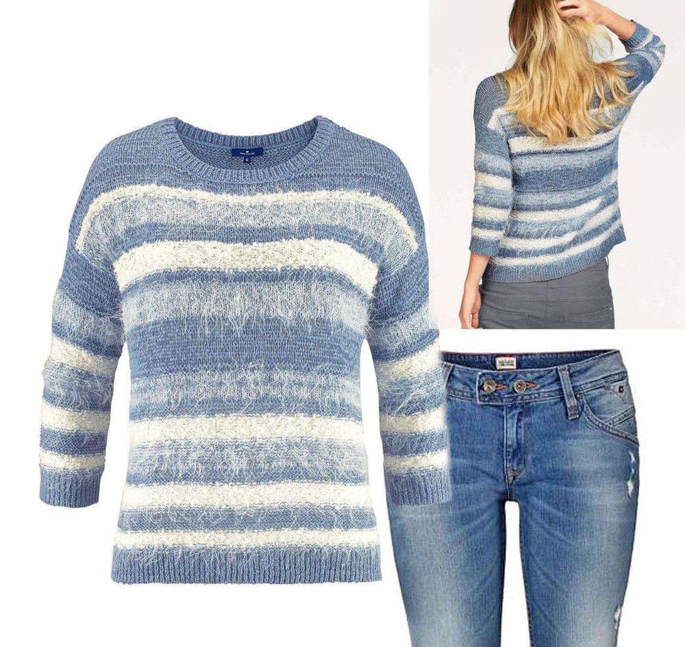 Tom #Tailor #Damen #Pullover hellblau weiß Neu Gr.XS