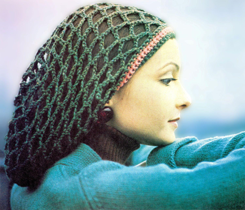 Vintage 70s Crochet Slouchy Rasta Tam Snood Hat Pdf Pattern