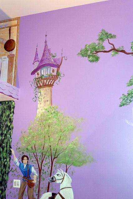 Princess Mural Rapunzel S Tower Princess Mural Disney Wall Murals Disney Mural