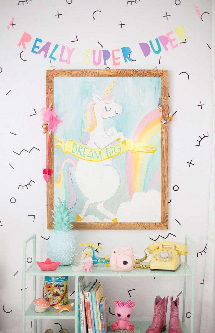 Lustige Wanddeko Kinderzimmer Madchen Einhorn Bild Bunt Design