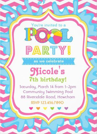 Girl'S Pool Party Invitations. A Breeze To Customize