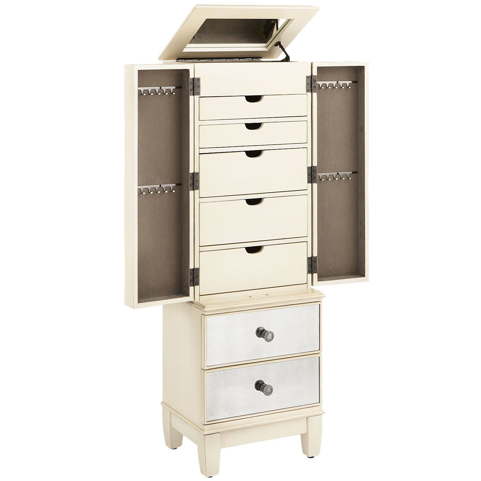 As glamorous as any star from Hollywood's Golden Era—yet as practical as we can make it—our Hayworth Jewelry Armoire is all about functional fashion. Handcrafted, hand-painted and covered in hand-cut beveled mirrors, it offers five felt-lined storage drawers, as well as ring rolls and necklace hooks to keep jewelry (and tiaras) organized and protected.