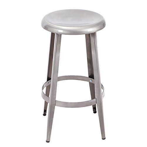 Asense 26 Inches Tall Glossy Toy Color Round Top Metal Stools Silver Check This Awesome Product By Going To The Backless Stools Kidsroom Decor Metal Stool
