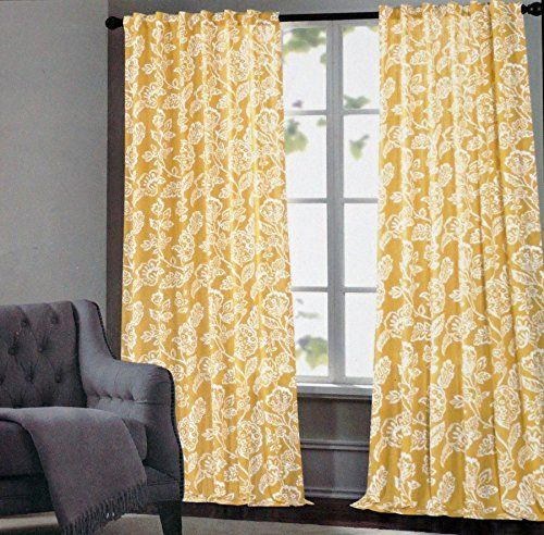 Cynthia Rowley Window Curtain Panels 52 Inches By 96 Inches Set Of 2 White  Floral Pattern  Cynthia Rowley Curtains