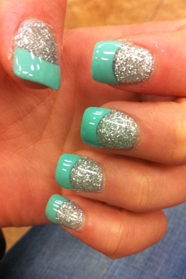 tiffany blue and sparkle nails