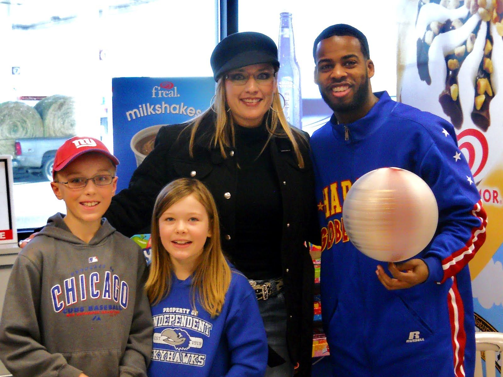 Working with Harlem Globetrotter Ant Atkinson Feb. 2012 to promote local event.