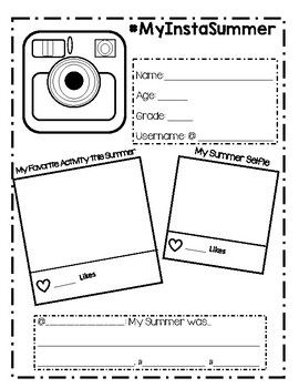 Instagram Themed Student Summer Reflection/color Sheet