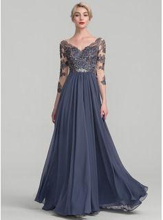 d131d3a49ef A-Line Princess V-neck Floor-Length Chiffon Lace Evening Dress (017131491)