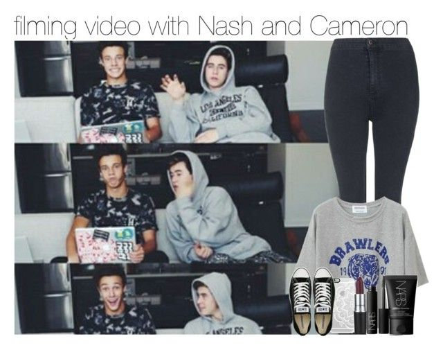 """filming video with Nash and Cameron"" by juu-jucry ❤ liked on Polyvore featuring Topshop, Casetify, Converse, M.A.C and NARS Cosmetics"