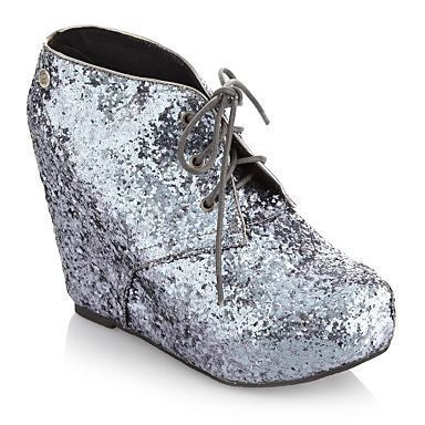 Silver glitter wedge ankle boots - High heel shoes - Shoes & boots ...