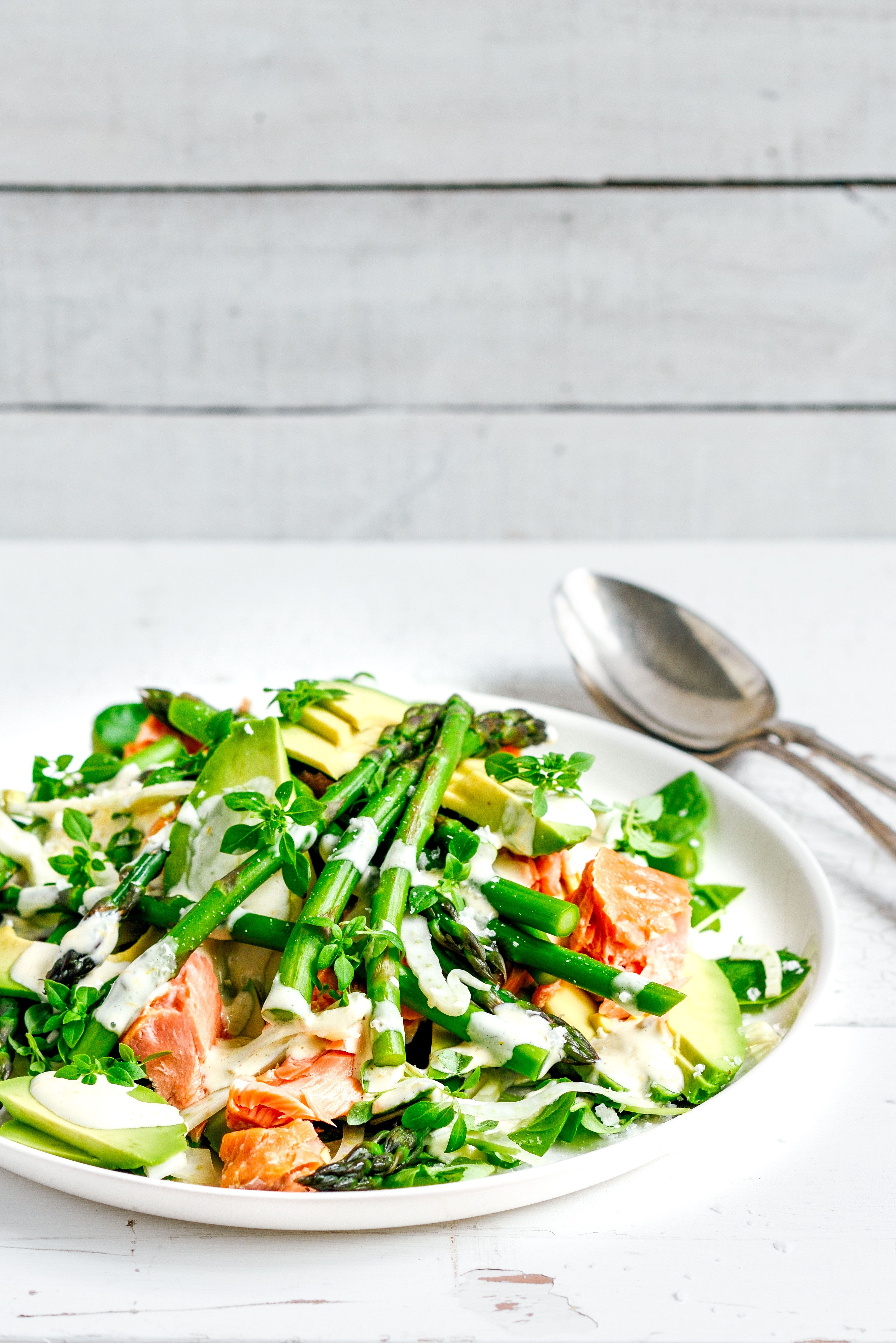 salmon, asparagus & fennel salad with lemon mayo – Stuck in the ...