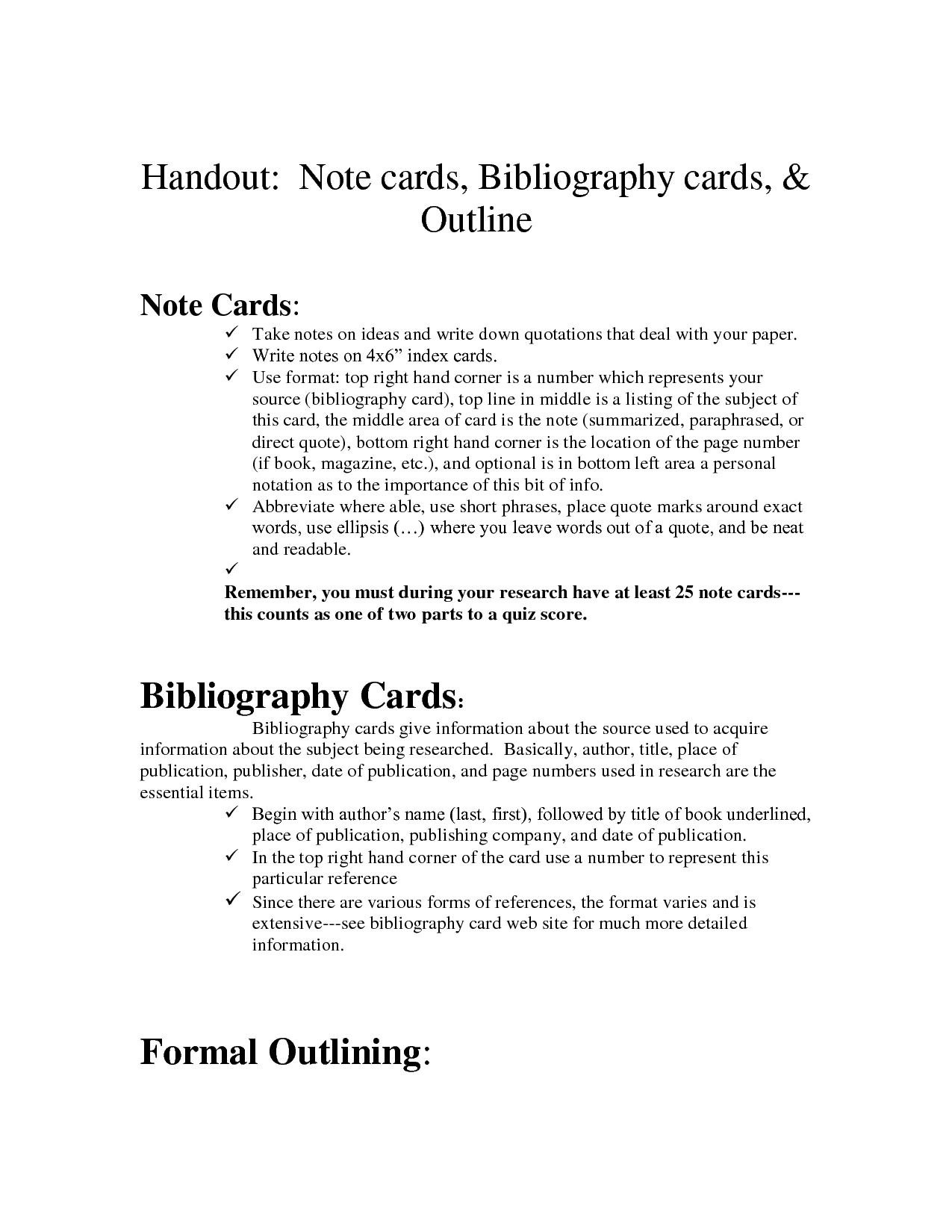 Blank Notecards To Document Sources And Take Notes