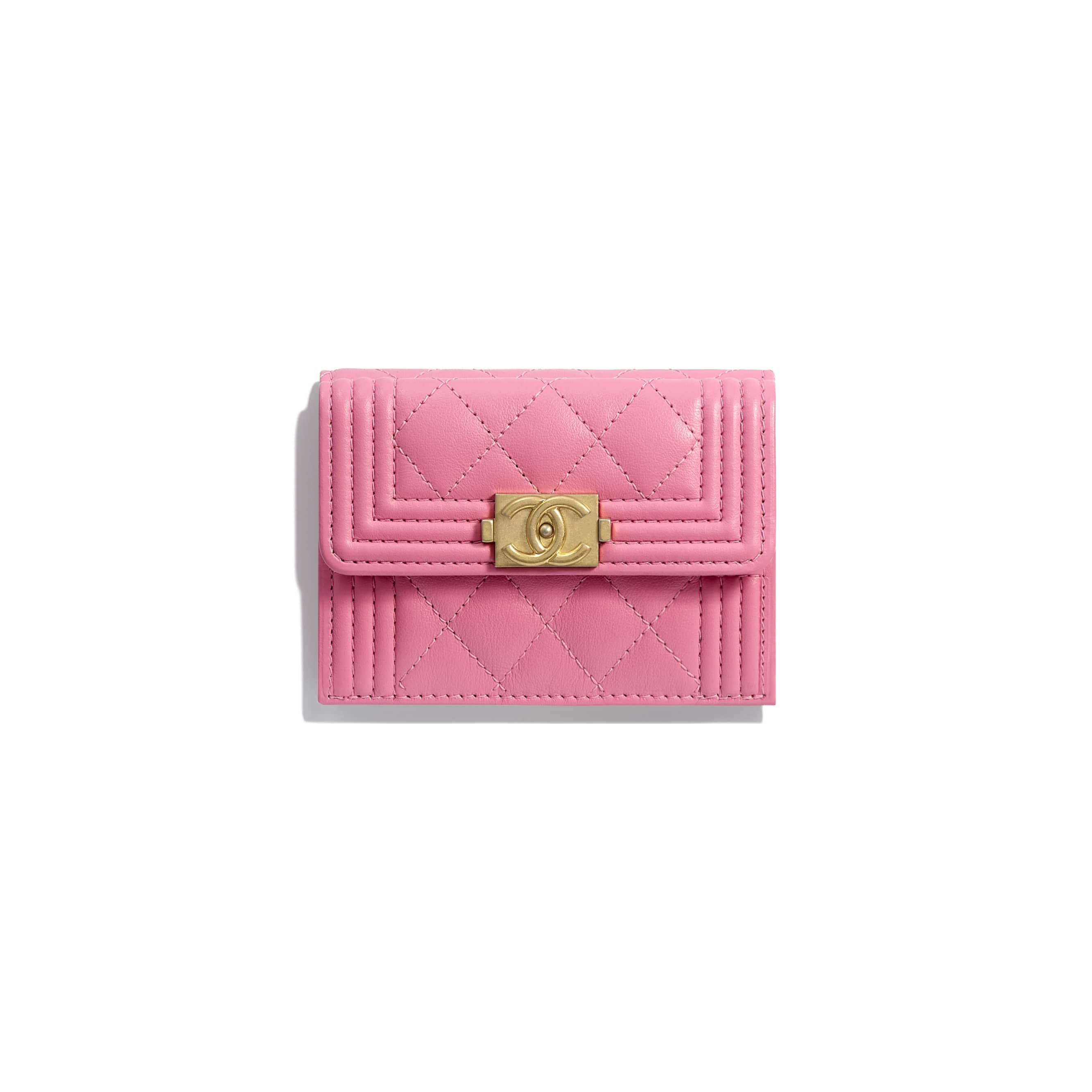58ba23e0b6336 BOY CHANEL Small Flap Wallet - Pink - Calfskin   Gold-Tone Metal - Default  view - see standard sized version