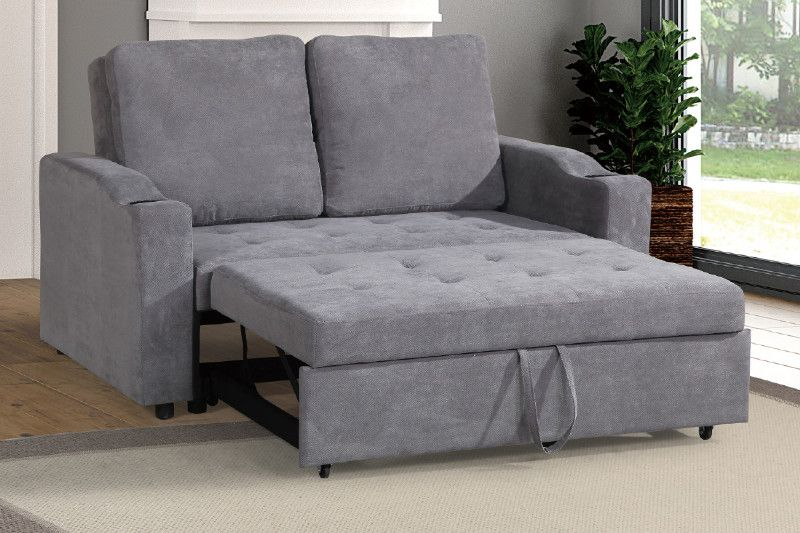 Poundex F6579 Daryl Iii Grey Linen Like Fabric Love Seat Set With