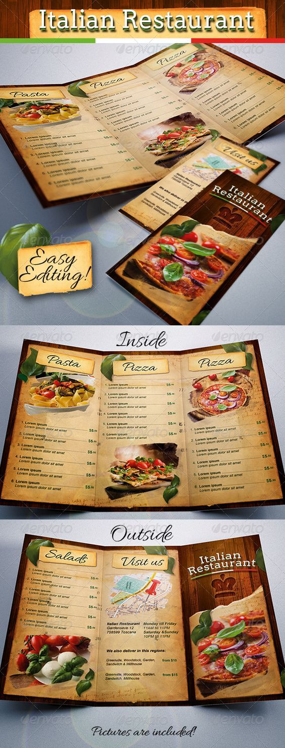 Italian Restaurant Food Menu Template TriFold  Food Menu