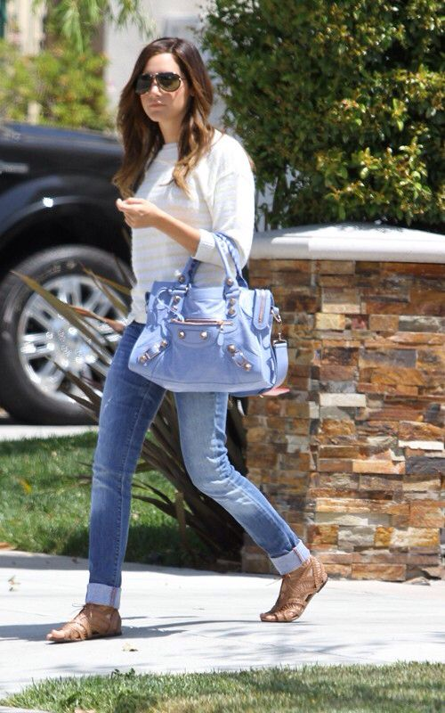 Loving Ashley Tisdale S So Simple Outfit With Skin Tone Caged Sandals That Are Neutral A Pop Of Color By Her Light Blue Balenciaga