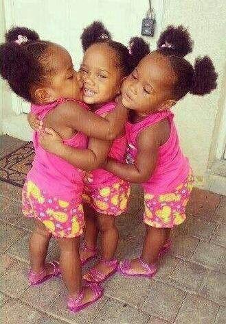 Triplets Beautiful Black Kids Babies Precious Cute Love