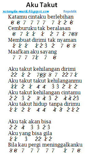 Not Angka Lagu Aku Takut Repvblik Dan Not Pianika Aku Takut Repvblik Lagu Lirik Belajar