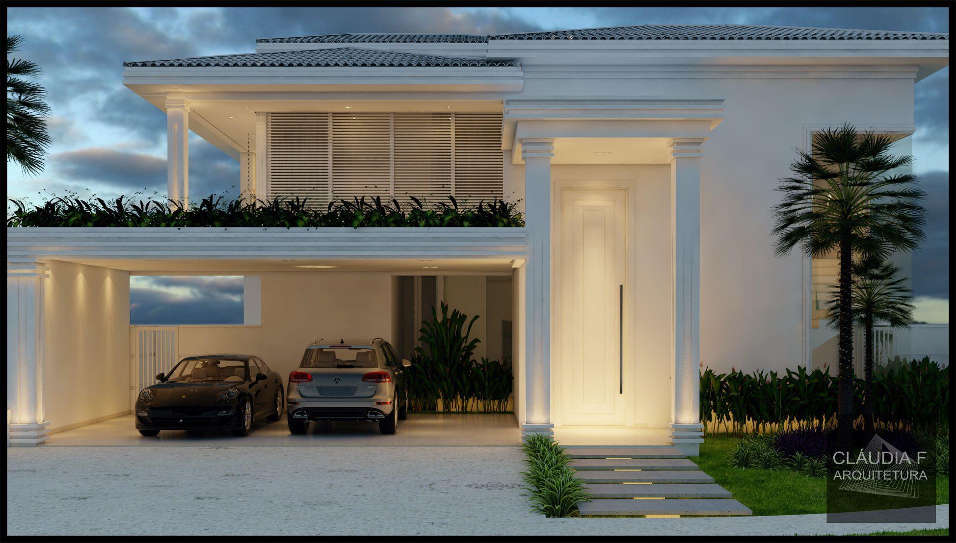Fachada frontal resid ncia estilo cl ssica ficha for Fachada de la casa clasica