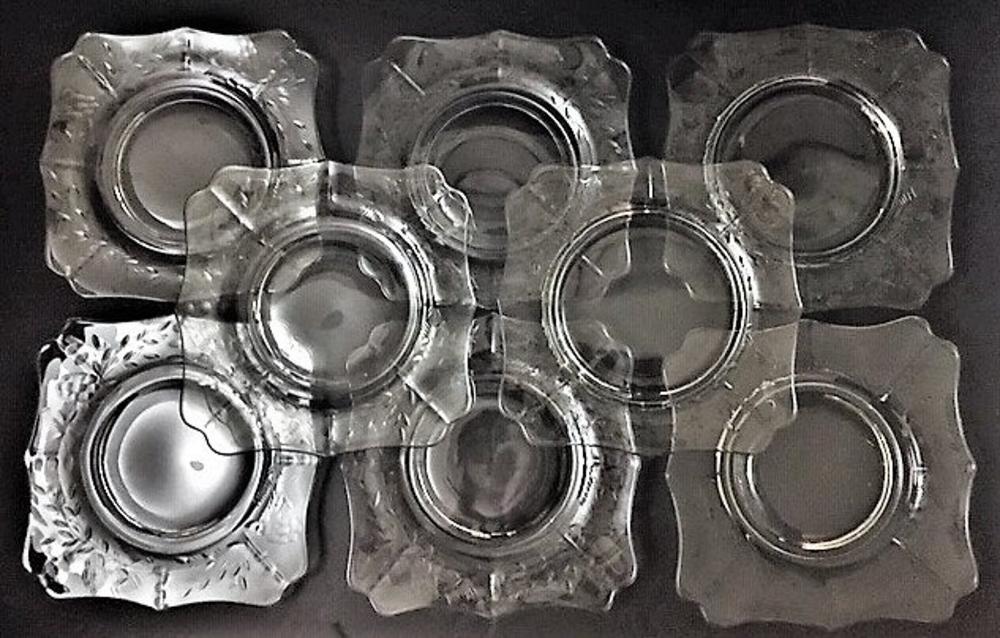 Vintage etched  crystal desert plates