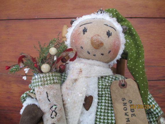 Primitive Christmas  Folk Art Snowman Doll with 1870 Stocking on Etsy, $39.99