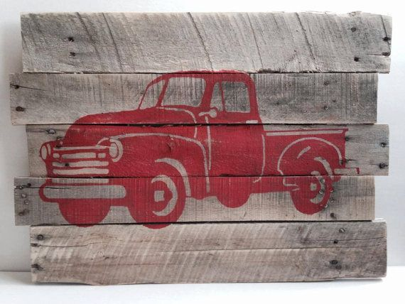 Truck Silhouette Rustic Farm Truck Pallet By Thecreativepallet 40 00 Wood Pallet