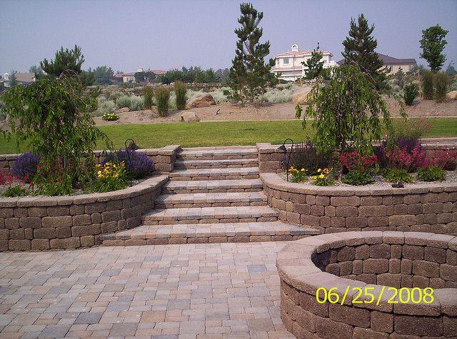 Pavers Fire Pit And Flower Beds Lawn Landscape Garden 400 x 300