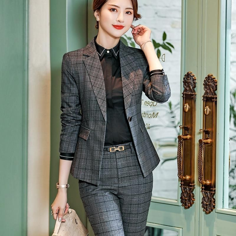 2 Pieces Set Plaid Formal Pant Suit Office Lady Uniform Designs