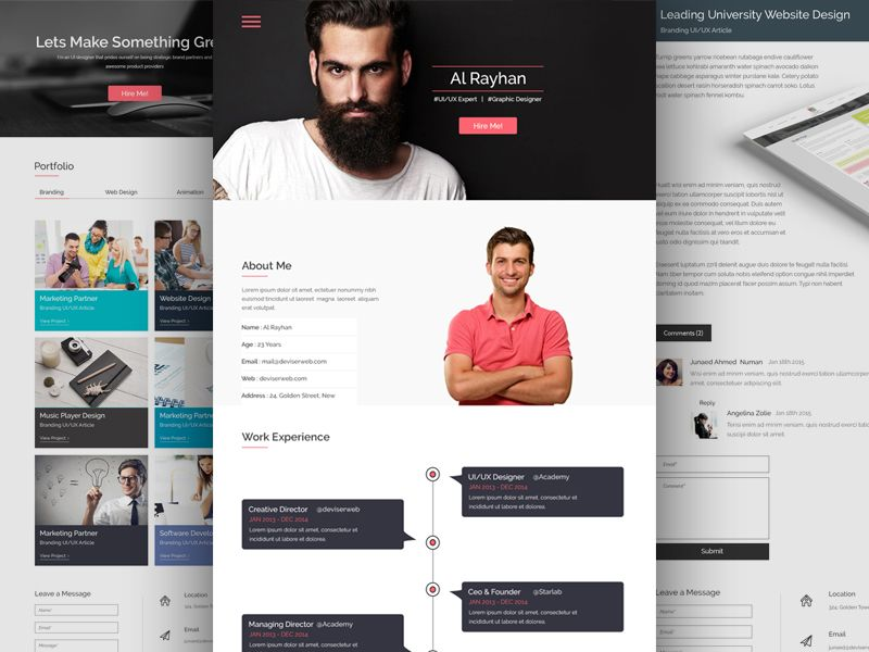 Free Personal CV\/Resume Web Template Free resume and Behance - resume website template