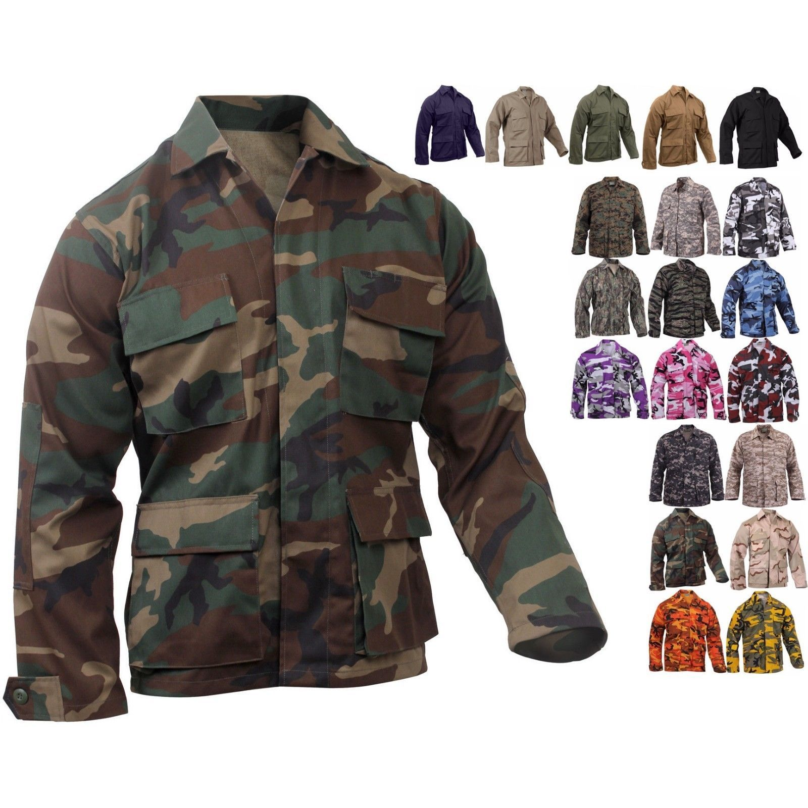 Military BDU Shirt Tactical Uniform Army Coat Camouflage Army Fatigue Jacket f72a23008