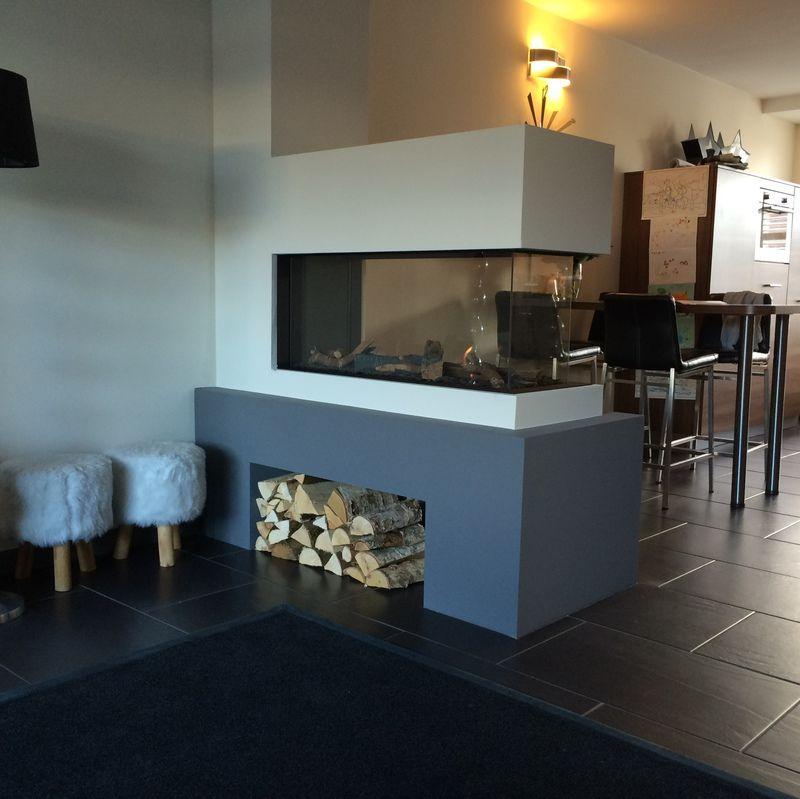 Roomdivider als scheiding tussen woonkamer en keuken woonkamer pinterest keuken haard en - Moderne keuken en woonkamer ...