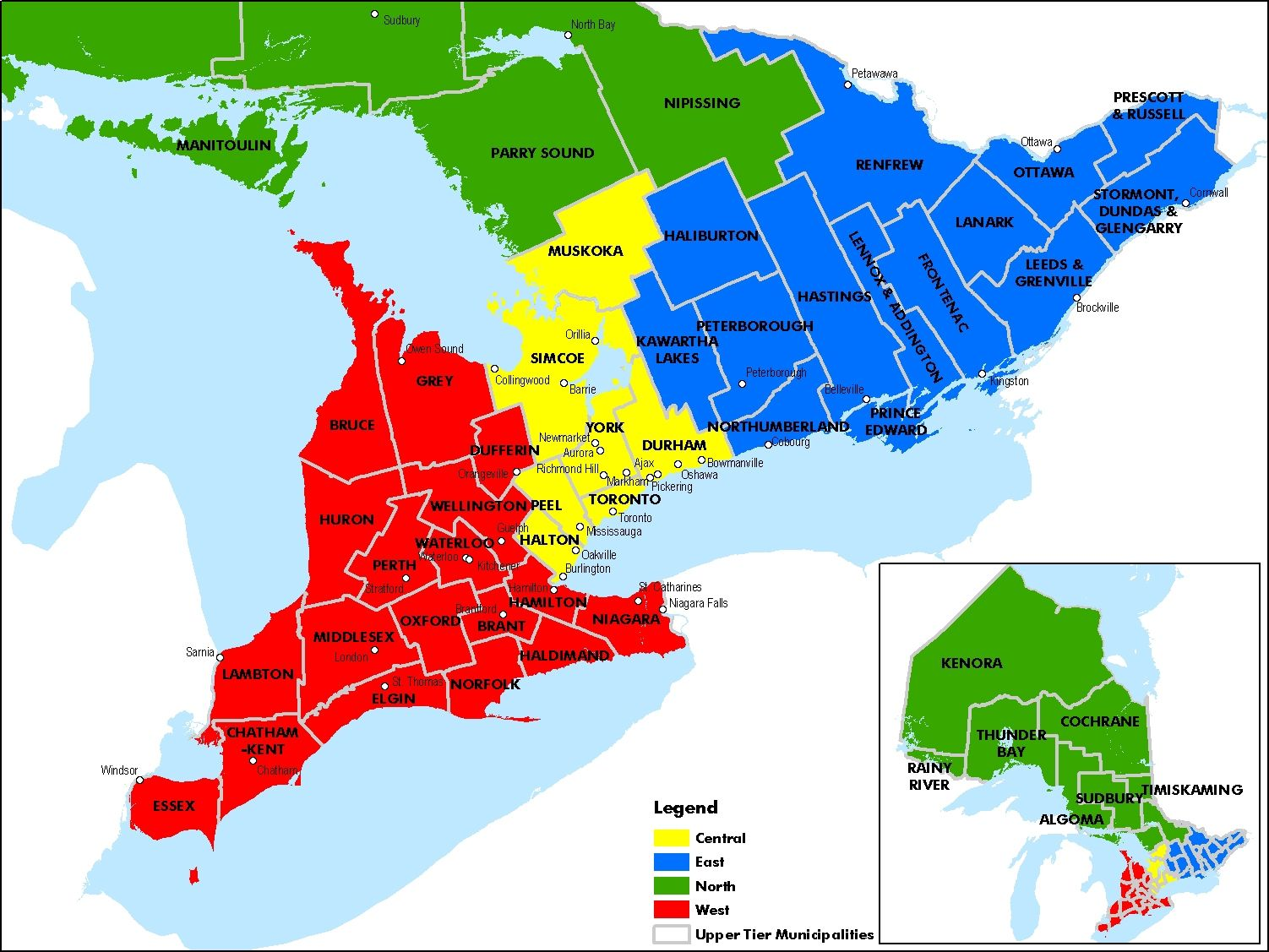 Map of Ontario  map of ontario counties and regions