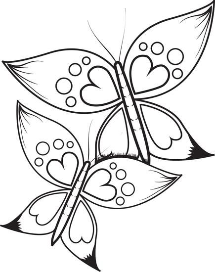 Butterflies With Heart Wings Coloring Page Butterfly Coloring