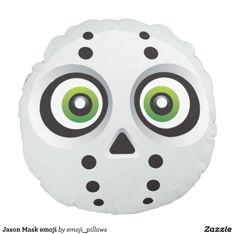 Jason Mask emoji Round Cushion | emoji halloween | Halloween