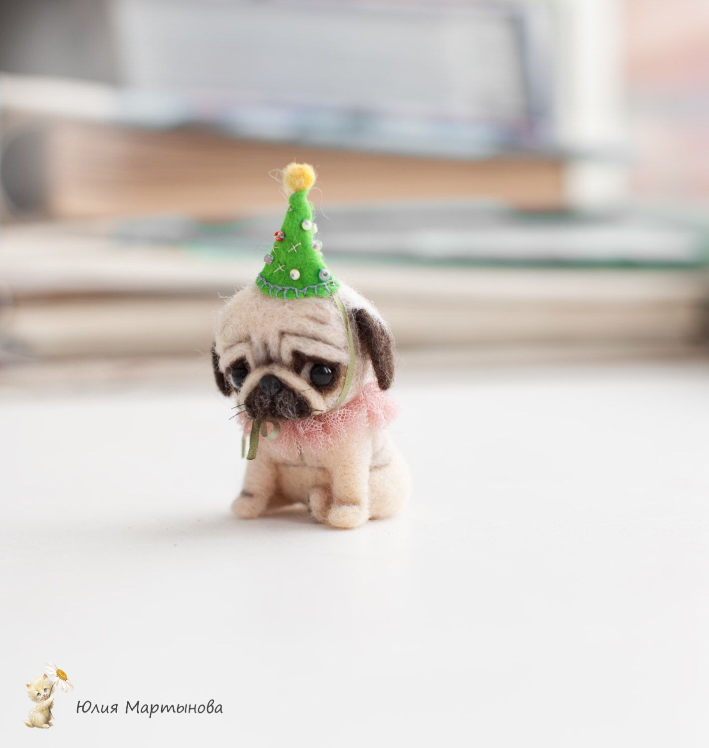 Tiny Pug Dog Ponochka Made To Order 6 7 Days 8 Cm Tall To The