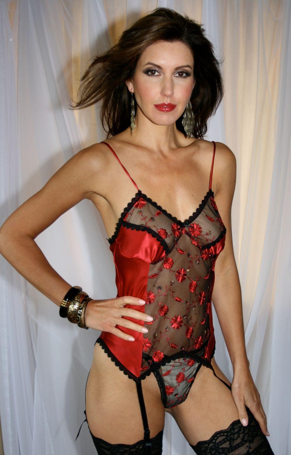 9262eb511b Red Silk  amp  Black Lace Soft Basque Set - Carmen by Diki Lingerie  Designer Lingerie