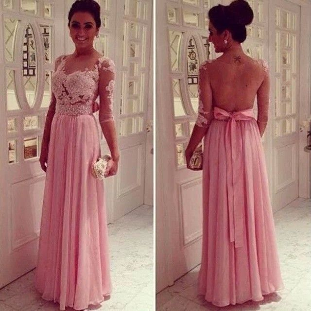 2016 Prom Dress Scoop Neckline Sheer Back Half Sleeves Lace Bodice ...