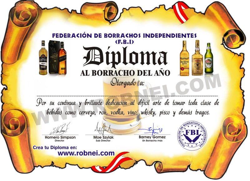 Crear Diplomas De Borracho Gratis Borracho Borrachos Vodka