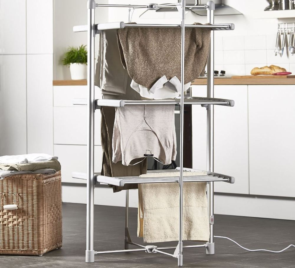 Electric Clothes Drying Rack VonHaus Heated Clothes Airer Foldable 3 Tier  Indoor