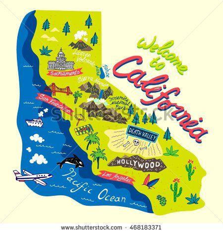 Cartoon map of CaliforniaTravels travel California illustration