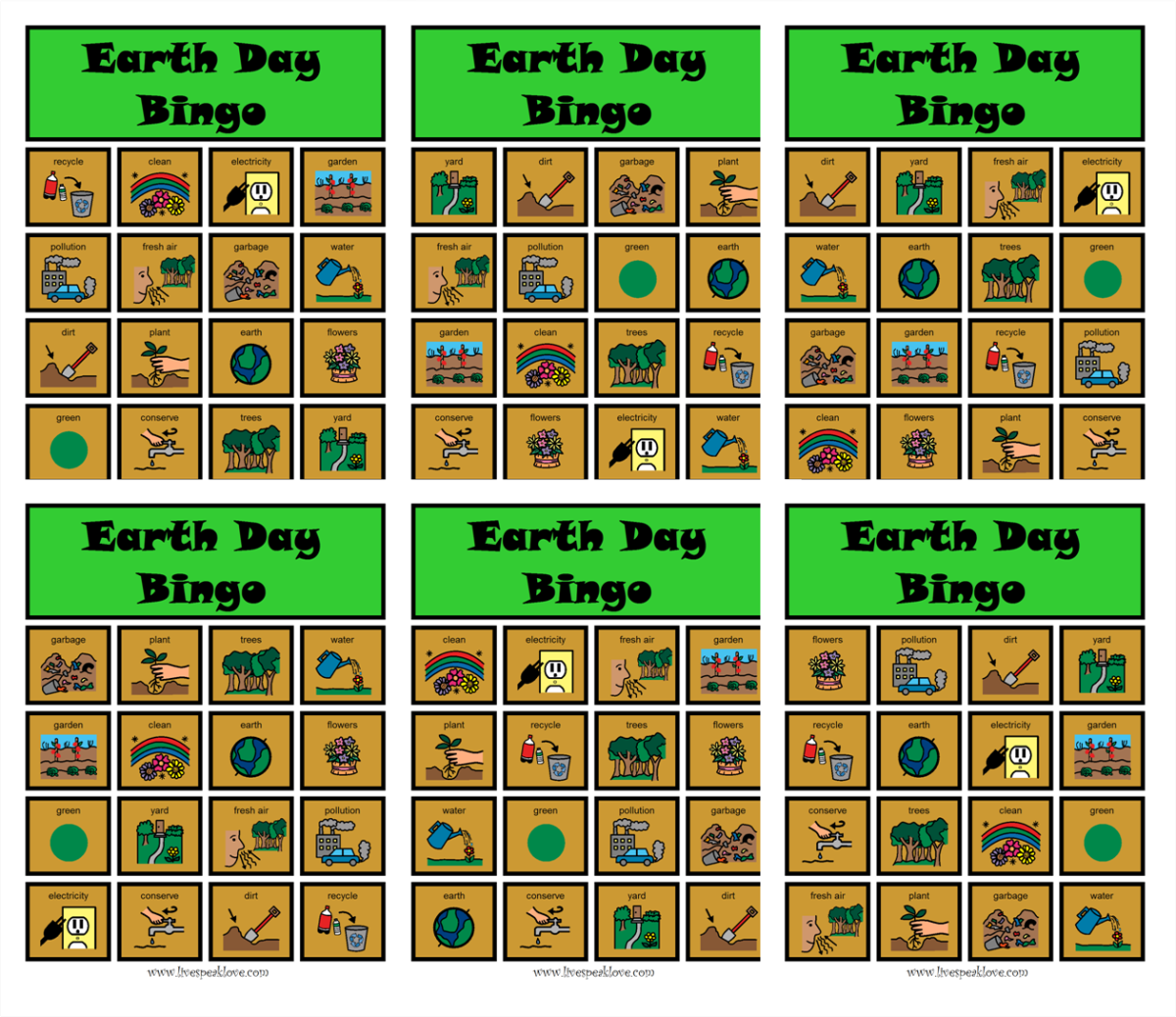 Earth Day Bingo Boards