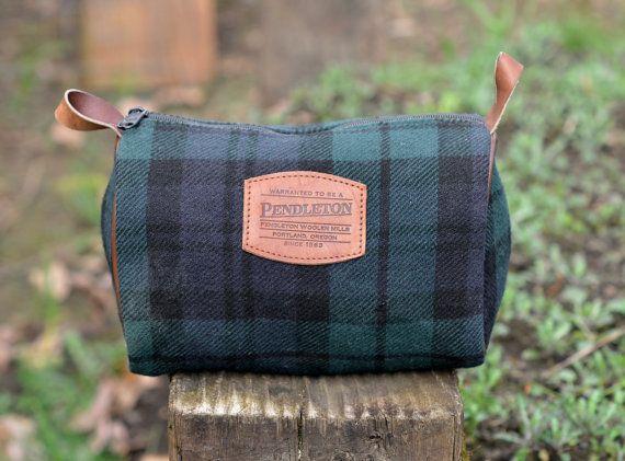 Pendleton Wool Blue & Green Tartan Plaid Bag