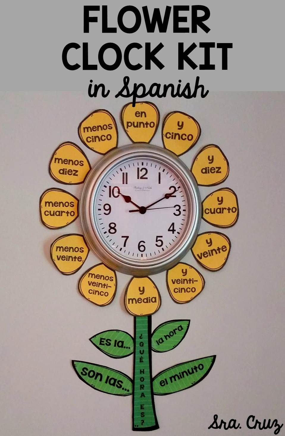 Spanish time flower clock kit spanish classroom student this is a fun kit to decorate the clock in your spanish classroom and help your kristyandbryce Image collections