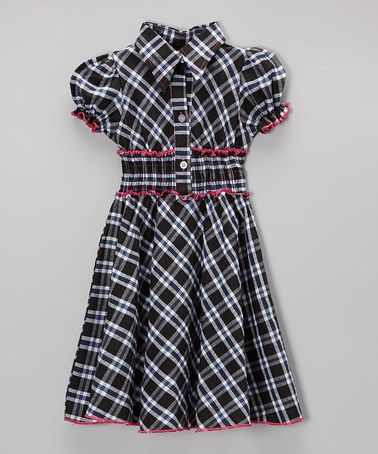 Another great find on #zulily! Black Plaid & Pink Trim Shirred Dress - Toddler & Girls #zulilyfinds