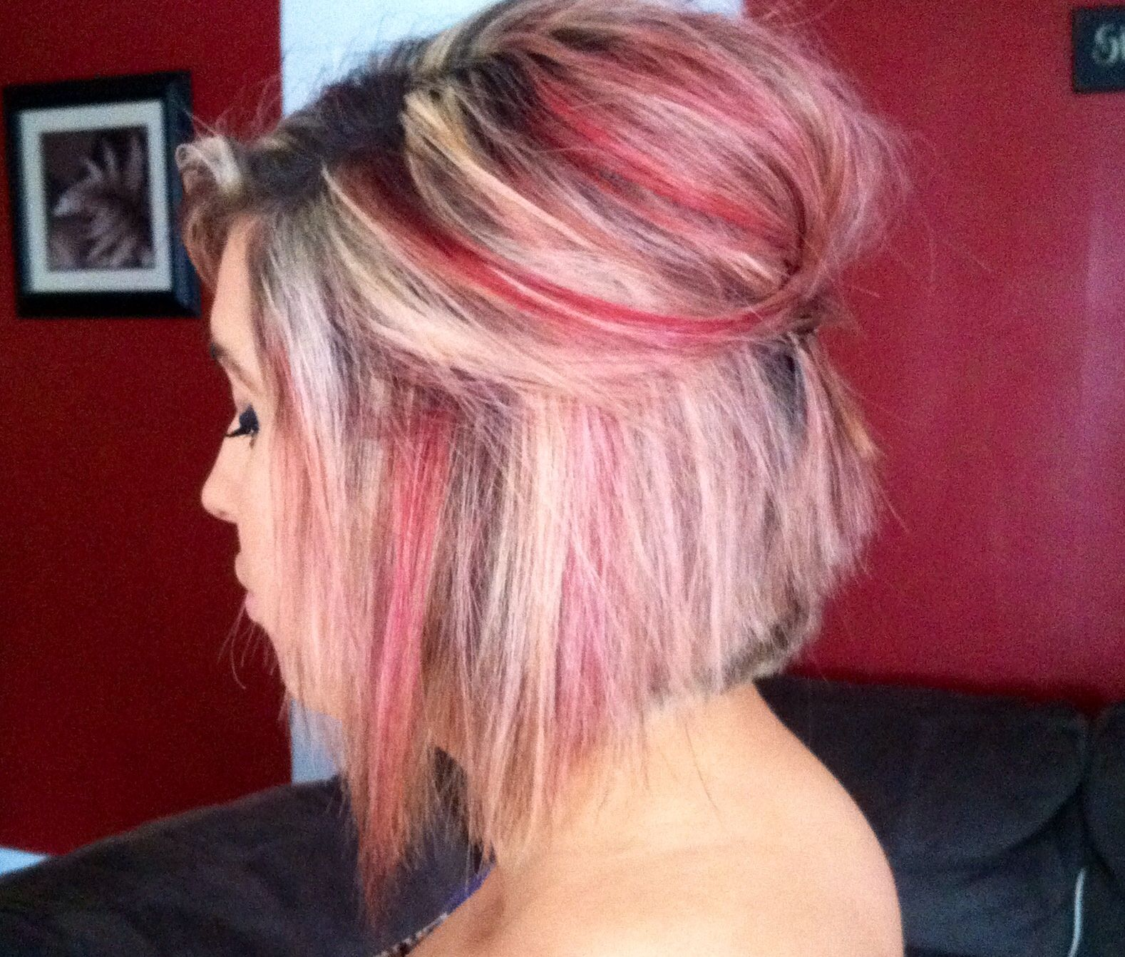 Heavy blonde foils with red highlights beautyubrains pinterest
