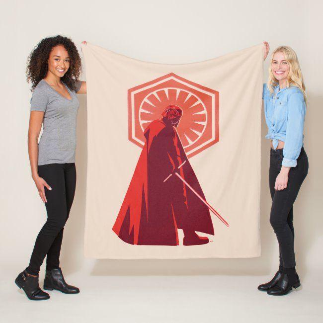 Red Monochrome Kylo Ren Fleece Blanket