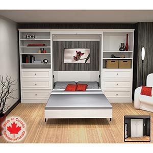 Bestar 3pc White Wall Bed Set Murphy Bed 1649 99 Excellent For
